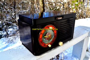 SOLD! - Dec 13, 2017 - Art Deco 1952 General Electric Model 60 AM Brown Bakelite Tube Clock Radio Totally Restored! - [product_type} - General Electric - Retro Radio Farm
