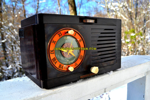 SOLD! - Dec 13, 2017 - Art Deco 1952 General Electric Model 60 AM Brown Bakelite Tube Clock Radio Totally Restored!