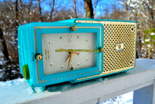 Load image into Gallery viewer, SOLD! - Jan 21, 2018 - BRIGHT SEAFOAM GREEN Retro Jetsons 1957 Bulova Model 120 Tube AM Clock Radio Looks Marvelous! - [product_type} - Bulova - Retro Radio Farm