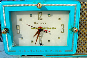 SOLD! - Jan 21, 2018 - BRIGHT SEAFOAM GREEN Retro Jetsons 1957 Bulova Model 120 Tube AM Clock Radio Looks Marvelous! - [product_type} - Bulova - Retro Radio Farm