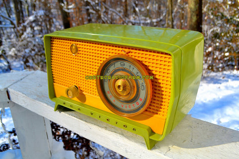 SOLD! - Dec 11, 2017 - OKLAHOMA Green And Ivory Yellow 1956 RCA Victor Model 5J-X-2B AM Tube Radio Great Sounding!