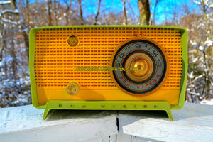 SOLD! - Dec 11, 2017 - OKLAHOMA Green And Ivory Yellow 1956 RCA Victor Model 5J-X-2B AM Tube Radio Great Sounding! - [product_type} - RCA Victor - Retro Radio Farm