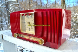 SOLD! - Dec. 13, 2017 - BLUETOOTH MP3 READY CRANBERRY RED 1955 General Electric Model 574 Retro AM Clock Radio Near Mint! - [product_type} - General Electric - Retro Radio Farm