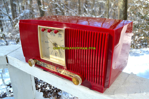 SOLD! - Dec. 13, 2017 - BLUETOOTH MP3 READY CRANBERRY RED 1955 General Electric Model 574 Retro AM Clock Radio Near Mint!