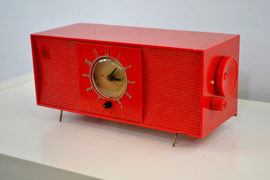 SOLD! - Dec 15, 2018 - Express Red 1956 Emerson 824 Tube AM Clock Radio Totally Restored! - [product_type} - Emerson - Retro Radio Farm