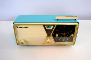 SOLD! - Dec. 17, 2018 - Sky Blue and White 1956 Emerson Model 883 Series B Tube AM Clock Radio Mid Century Rare Color Sounds Great! - [product_type} - Emerson - Retro Radio Farm