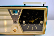 Load image into Gallery viewer, SOLD! - Dec. 17, 2018 - Sky Blue and White 1956 Emerson Model 883 Series B Tube AM Clock Radio Mid Century Rare Color Sounds Great! - [product_type} - Emerson - Retro Radio Farm