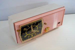 SOLD! - Feb 5, 2019 - Princess Pink Mid Century Retro RCA Victor C-51F 1959 Clock Radio - [product_type} - RCA Victor - Retro Radio Farm