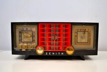 Load image into Gallery viewer, SOLD! - Dec. 11, 2019 - Ebony Black and Red Mid Century 1955 Zenith Model R623G AM Tube Radio Sleek and Sassy Sounds Great! - [product_type} - Zenith - Retro Radio Farm