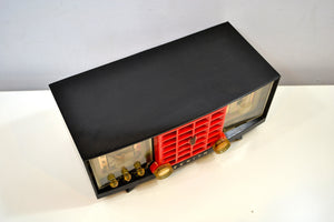 SOLD! - Dec. 11, 2019 - Ebony Black and Red Mid Century 1955 Zenith Model R623G AM Tube Radio Sleek and Sassy Sounds Great! - [product_type} - Zenith - Retro Radio Farm