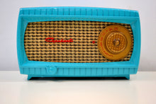 Load image into Gallery viewer, SOLD! - Dec 12, 2019 - TURQUOISE AND WICKER Vintage 1949 Capehart Model 3T55B AM Vacuum Tube Radio Totally Restored! - [product_type} - Capehart - Retro Radio Farm