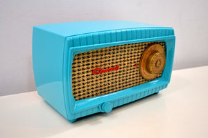 SOLD! - Dec 12, 2019 - TURQUOISE AND WICKER Vintage 1949 Capehart Model 3T55B AM Vacuum Tube Radio Totally Restored! - [product_type} - Capehart - Retro Radio Farm
