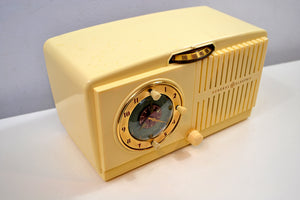 SOLD! - Jan 4, 2020 - Ivory White Vintage 1954 General Electric Model 516 AM Tube Radio Solid Player Popular Model! - [product_type} - General Electric - Retro Radio Farm