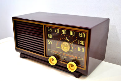 SOLD! - Dec 16, 2019 - Bordeaux Burgundy 1953 Philco Model 53-562 Transitone AM Radio with Civil Service and Sounds Great!