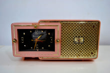 Load image into Gallery viewer, Fifth Avenue Pink 1957 Bulova Model 120 Tube AM Clock Radio - [product_type} - Bulova - Retro Radio Farm
