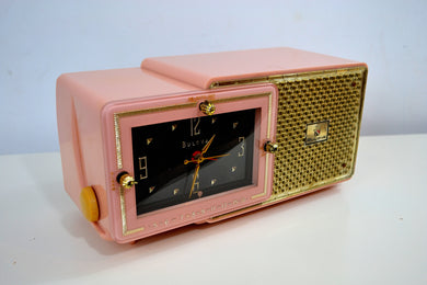 Fifth Avenue Pink 1957 Bulova Model 120 Tube AM Clock Radio - [product_type} - Bulova - Retro Radio Farm
