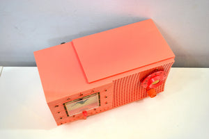 SOLD! - Jan. 19, 2020 - Rouge Pink 1959 Westinghouse Model H540T5A Vacuum Tube AM Clock Radio Seductive Looking and Sounding!