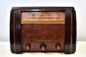 SOLD! - Jan. 14, 2020 - Sable Brown Marbled Bakelite 1946 Bendix Model 75P6U AM FM Vacuum Tube Radio Gorgeous! - [product_type} - Bendix Aviation - Retro Radio Farm
