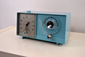 SOLD! - May 24, 2019 - Powder Blue 1959 General Electric Model C-404B Tube AM Clock Radio With Issues - [product_type} - General Electric - Retro Radio Farm