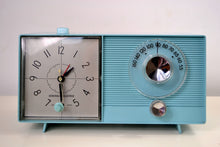 Load image into Gallery viewer, Powder Blue 1959 General Electric Model C-404B Tube AM Clock Radio With Issues - [product_type} - General Electric - Retro Radio Farm
