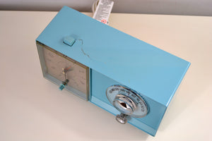 Powder Blue 1959 General Electric Model C-404B Tube AM Clock Radio With Issues - [product_type} - General Electric - Retro Radio Farm