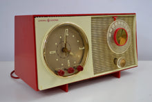 Load image into Gallery viewer, SOLD! - Dec 20, 2018 - Corvette Red and White Late 50s early 60s General Electric GE Tube AM Clock Radio - [product_type} - General Electric - Retro Radio Farm