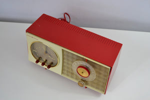 SOLD! - Dec 20, 2018 - Corvette Red and White Late 50s early 60s General Electric GE Tube AM Clock Radio - [product_type} - General Electric - Retro Radio Farm