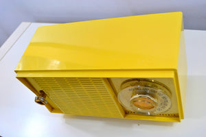 SOLD! - Dec 27, 2018 - Hello Yellow Mid Century Vintage 1959 General Electric Model T-129C Tube Radio Super Rare Color! - [product_type} - General Electric - Retro Radio Farm