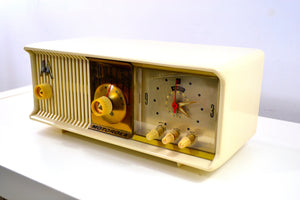 SOLD! - Aug 8, 2019 - Alabaster Ivory 1957 Motorola 57CC Tube AM Clock Radio Excellent Condition Sounds Great! - [product_type} - Motorola - Retro Radio Farm