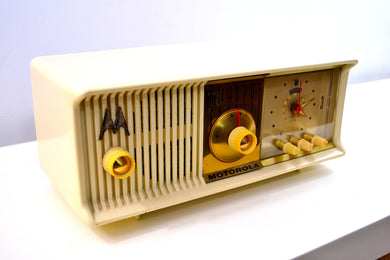 Alabaster Ivory 1957 Motorola 57CC Tube AM Clock Radio Excellent Condition Sounds Great! - [product_type} - Motorola - Retro Radio Farm