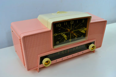 SOLD! - Dec 25, 2018 - IMPERIAL PINK 1959 Philco Model G761-124 Tube AM Clock Radio Pristine Rare Bells On Top Of Whistles! - [product_type} - Philco - Retro Radio Farm