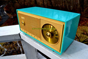 SOLD! - Jan 15, 2018 -BLUETOOTH MP3 READY - TURQUOISE AND IVORY Two Tone Mid Century Retro Admiral Tube AM Radio  Model Y848 Works Great! - [product_type} - Admiral - Retro Radio Farm