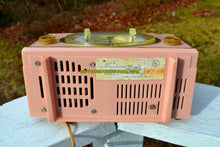Load image into Gallery viewer, SOLD! - Dec 31, 2017 - PINK CYCLOPIC Vintage Mid Century Retro Jetsons 1957 Bulova Model 140 Tube AM Clock Radio WORKS! - [product_type} - Bulova - Retro Radio Farm