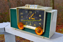Load image into Gallery viewer, SOLD! - June 3, 2018 - HUNTER GREEN And White Mid-Century Retro Vintage 1959 Philco Model H764-124 AM Tube Clock Radio Totally Restored!