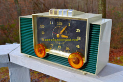 SOLD! - June 3, 2018 - HUNTER GREEN And White Mid-Century Retro Vintage 1959 Philco Model H764-124 AM Tube Clock Radio Totally Restored!