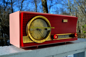 SOLD! - Oct 27, 2018 - Sweetheart Red and Pink Mid Century Retro 1959-1961 CBS C230 Tube AM Clock Radio Rare Color Combo! - [product_type} - CBS - Retro Radio Farm