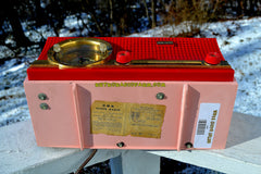 Sweetheart Red and Pink Mid Century Retro 1959-1961 CBS C230 Tube AM Clock Radio Rare Color Combo!