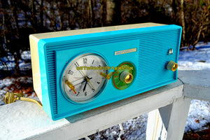 SOLD! - Jan 1, 2018 - SKY BLUE Mid Century Retro 1958 Motorola Model 5C23CW Tube AM Clock Radio Beautiful and Sounds Great! - [product_type} - Motorola - Retro Radio Farm