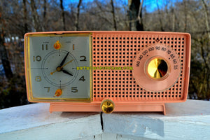 Bluetooth MP3 Ready - Primrose Pink Mid Century 1959 General Electric Model C437A Tube AM Clock Radio Works Great! - [product_type} - General Electric - Retro Radio Farm