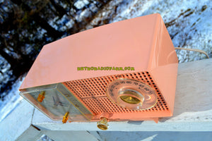 SOLD! - May 1, 2019 - Bluetooth MP3 Ready - Primrose Pink Mid Century 1959 General Electric Model C437A Tube AM Clock Radio Works Great! - [product_type} - General Electric - Retro Radio Farm