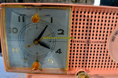 BLUETOOTH MP3 Ready - Primrose Pink Mid Century 1959 General Electric Model C437A Tube AM Clock Radio Works Great!