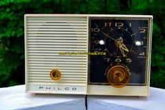 SOLD! - Oct 1, 2017 - PINK BEAUTY Mid-Century Retro Vintage 1959 Philco Model J772-124 AM Tube Clock Radio Totally Restored!