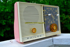 SOLD! - Oct 1, 2017 - PINK BEAUTY Mid-Century Retro Vintage 1959 Philco Model J772-124 AM Tube Clock Radio Totally Restored! - [product_type} - Philco - Retro Radio Farm