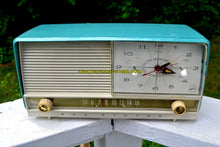 Load image into Gallery viewer, SOLD! - July 31, 2017 - AQUA and White Retro Jetsons 1956 RCA Victor 9-C-7LE Tube AM Clock Radio Totally Restored! - [product_type} - RCA Victor - Retro Radio Farm