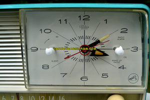 SOLD! - July 31, 2017 - AQUA and White Retro Jetsons 1956 RCA Victor 9-C-7LE Tube AM Clock Radio Totally Restored! - [product_type} - RCA Victor - Retro Radio Farm