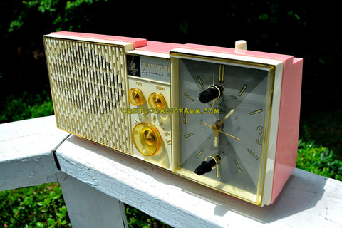 SOLD! - June 21, 2017 - BIARRITZ PINK Mid Century Vintage Retro 1962 Emerson Lifetimer III Model G1706 Tube AM Clock Radio