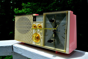 SOLD! - June 21, 2017 - BIARRITZ PINK Mid Century Vintage Retro 1962 Emerson Lifetimer III Model G1706 Tube AM Clock Radio - [product_type} - Emerson - Retro Radio Farm