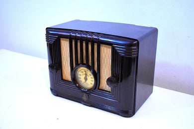 Golden Age Neoclassical Brown Bakelite 1936 Emerson Model 429 AM Vacuum Tube Radio Art Deco Beauty!
