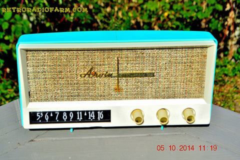 SOLD! Feb 22. 2015 - AQUAMARINE BLUE Retro Jetsons Vintage 1959 Arvin 2585 AM Tube Radio WORKS!