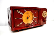 Load image into Gallery viewer, Burgundy Red 1959 Westinghouse Model H545T5A Vintage Tube AM Clock Radio Totally Restored!